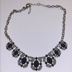 J.Crew Black and Clear Crystal Statement Necklace